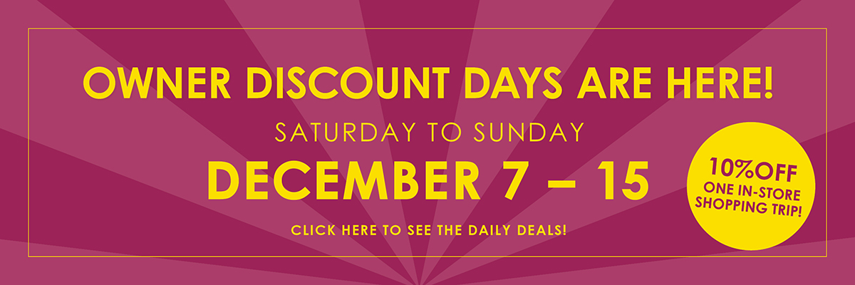 Owner Discount Days December 7-15